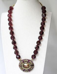 HEIDI DAUS 'Suit Your Taste' NECKLACE Purple Beaded Crystal Drop Statement NEW