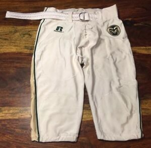 Colorado State University Rams White Green Football Pants game Worn Russell
