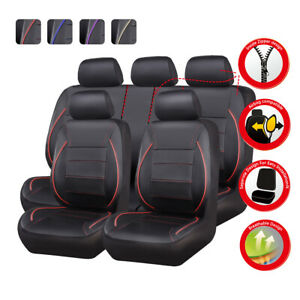 Universal PU Leather Waterproof Car Seat Covers For Truck SUV Full Set Red Black