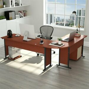 Tribesigns Large Modern L-Shaped Desk 83'' Wood & Metal Corner Desk with Drawers