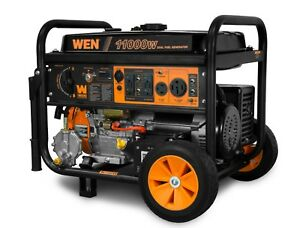 WEN DF1100T 11000 Watt 120V 240V Dual Fuel Portable Generator with Wheel Kit