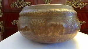 Rare VINTAGE 19TH Century Elephant SilverCopper THAI  Hand Carved Large BOWL.