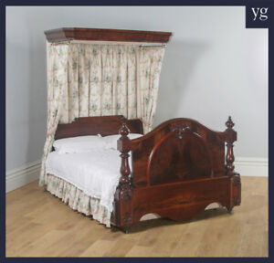 Antique English Victorian Flame Mahogany 5ft King Size Half Tester Bed c.1850