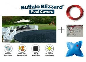 Buffalo Blizzard 24#x27; Round Above Ground Swimming Pool Winter Cover w Air Pillow