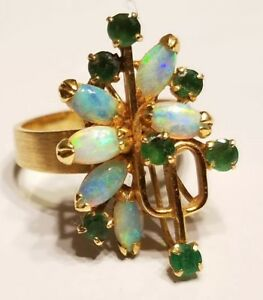 14k Unique Emerald & Fire Opal RKO 585 Vtg freeform abstract cocktail Ring 6.5