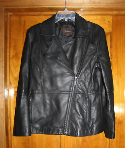 Cole Haan Black Lambskin Leather Motorcycle jacket Women's L