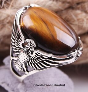 Eagle Tigers Eye Stone Turkish Handmade 925 Sterling Silver Mens Ring ALL SİZE
