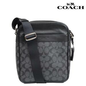 Authent Coach Men CHARCOALBLACK Signature Flight Messenger Crossbody Bag F54788