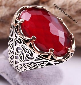 Turkish handmade 925 Sterling Silver red ruby stone Mens man ring ALL SİZE #4872