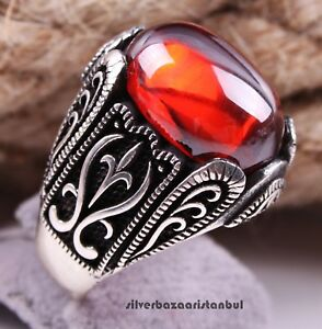 Turkish handmade 925 Sterling Silver red ruby stone Mens man ring ALL SİZE #5555