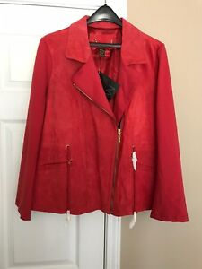 IMAN -Sz 1X Gorgeous Woman's Red Suede Leather Zip Moto Chic Elegant Jacket