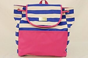 BETSEY JOHNSON Blue White Pink Faux Leather LUV BETSEY Drawstring Backpack Purse