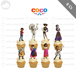 8 Disney Coco Movie Cupcake Cake Topper Food Pick Favor Party