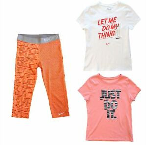 NIKE Girls Dri Fit Orange Capris Leggings Always Fast Do My Thing T-Shirts L NEW