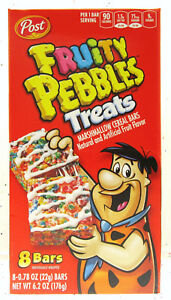 FRUITY PEBBLES TREATS Marshmallow eight cereal squares (8 Bars) Post BFR