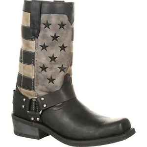 Durango DDB0141 Black and Charcoal Grey Faded Flag Harness Boot
