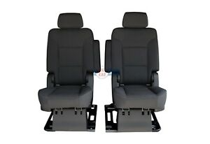 2019 2018 2017 - 2015 Tahoe orYukon 2nd Row Captains Chairs Seats in Black Cloth