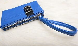 STEVE MADDEN Womens Fashion Double Zip Wallet Royal Blue w Wrist Strap ID NWT
