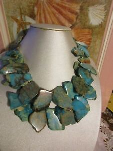 Beautiful Blue Jasper Stone Slab Necklace Very Heavy Piece
