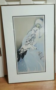 WINTER Snowy Owls Marci Mcdonald Signed Fla Art Authentic Gray Rives Paper As Is