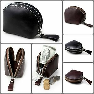 Genuine Leather Coin Purse Change Pouch Card Key Holder Wallet Birthday Gift