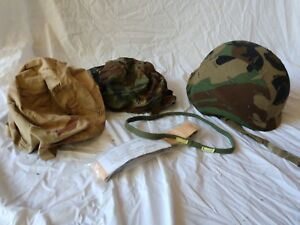 Military made with Kevlar Helmet w multiple covers and webbing