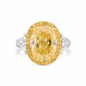 8.22 Ct Oval Cut Sparkling Fancy Yellow Diamond Ring Natural 18K White Gold GIA