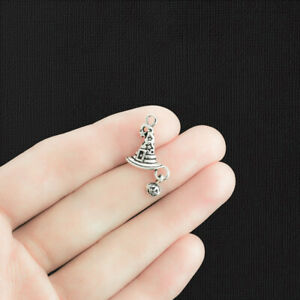 8 Witch Hat Charms Antique Silver Tone with Cute Dangle Pumpkin SC1112 $3.99