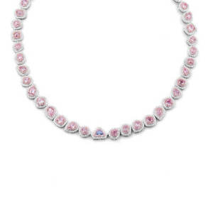 18.84 Ct Mix Cut Fancy Light Purple Pink Diamond Necklace 18K White Gold GIA New