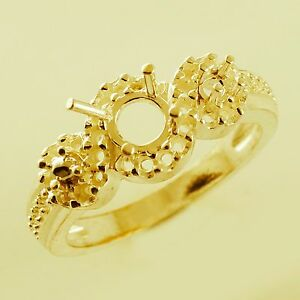 Semi Mount Round Shape Cocktail Ring Solid Gold Engagement anniversary Jewelry