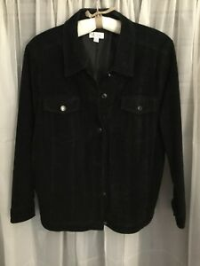 suede leather jean jacket Women's 2X Black.  Washable.