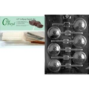 Cybrtrayd 45StK50-S019 Soccer Ball Lolly Sports Chocolate Candy Mold Includes