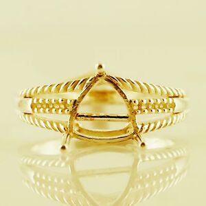 Semi Mount Cocktail Ring 8.00 MM Trillion Shape FS Setting Gold Gift Jewelry
