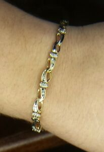 10k Solid Gold Diamond Tennis Bracelet. Stunning Yellow and White Gold. AMAZING