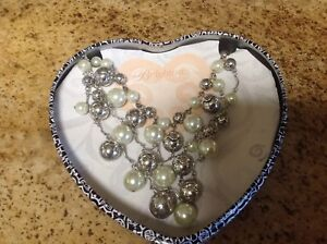 Brighton  Glamour Pearl And Silver Statement Bib Necklace ~ With Tin