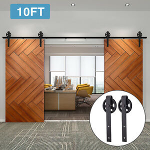 10FT Double Sliding Barn Door Hardware Black Wood Track Kit Spoke Wheel Rollers