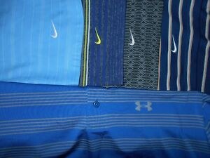 Lot 5 Under Armour Nike Dri-Fit Fit-Dry Mens Polo Shirts L Large 2 NWOT