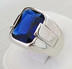 SİMPLE Sapphire Turkish Jewelry Handmade 925 Sterling Silver Mens Ring ALL SİZE