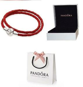 NEW GENUINE PANDORA SILVER CLASP RED DOUBLE LEATHER BRACELET 590745CRD-D UK
