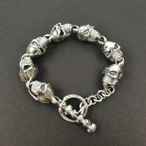 54G Heavy 925 Sterling Silver Linked Large Skulls Toggle Clasp 8