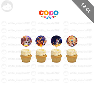 12 Disney Coco Movie Cupcake Cake Topper Food Pick Favor Party Birthday Kid