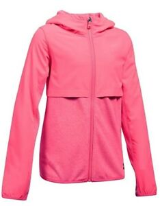NWT $65 UNDER ARMOUR Phenom Girls Fleece Full Zip Hoodie Pink Size L (14-16)