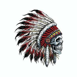 INDIAN CHIEF SKULL LOGO VINYL 3M USA MADE DECAL STICKER TRUCK WINDOW BUMPER WALL