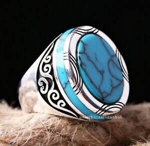 Solid Turquoise Stone Turkish Jewelry 925 Sterling Silver Mens Ring ALL SİZE 099