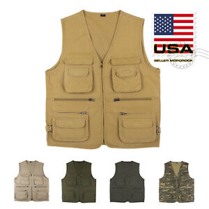 US Mororock Photographer Cargo Hunting Fishing Safari Hiking Vest