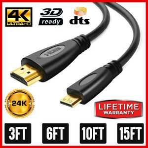 High-Speed Mini HDMI to HDMI Cable Adapter HDMI A to HDMI Mini Type C 4K  Lot