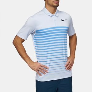 NIKE GOLF DRY STRIPE POLO T-SHIRT BLUE SMALL STANDARD FIT