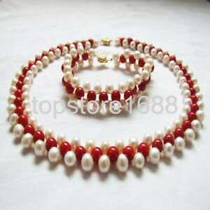 Genuine 3 rows freshwater pearl red cora handmadel choker necklace bracelet set