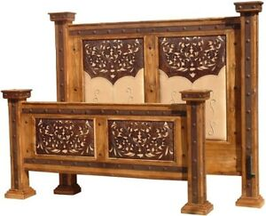 Tooled Leather Queen Bed Carved Solid Wood Antique Colonial Headboard Footboard