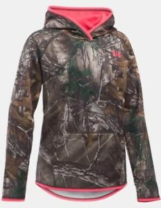 NWT Under Armour Girls Youth Icon Camo Hoodie Realtree Xtra XL $60